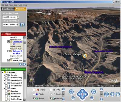 Google Earth Free. Vista del Gran Cañon del Colorado. USA