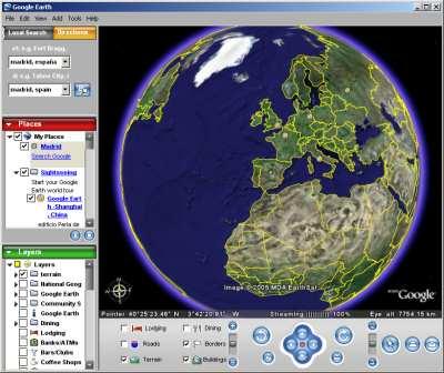 Google Earth. Vista de la tierra desde el satelite